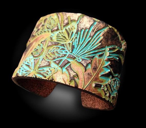 Wild Flowers meadow distressed polymer clay cuff bracelet