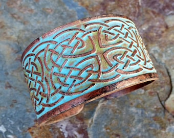 Celtic knot copper and patina polymer clay cuff bracelet