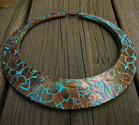 Flower maze polymer clay signature bib necklace in oxidized copper and patina