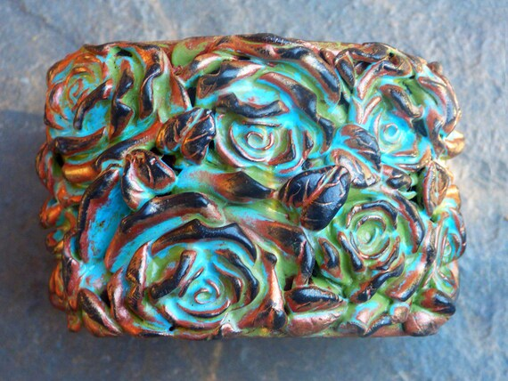 Victorian roses polymer clay cuff