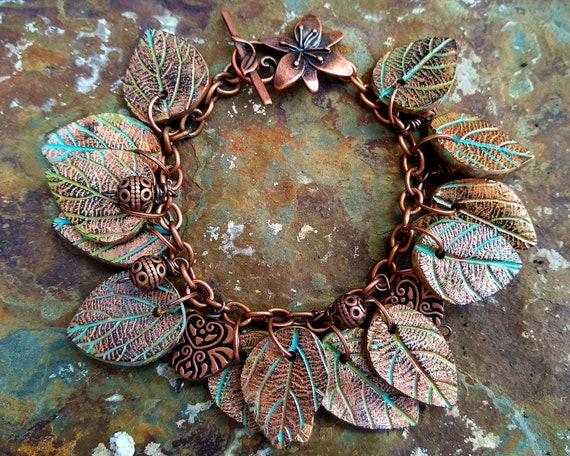 Leaves copper and patina bracelet
