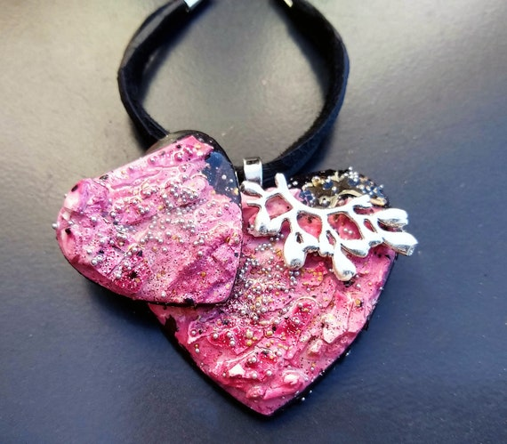One-of-a-kind organic distressed polymer clay necklace