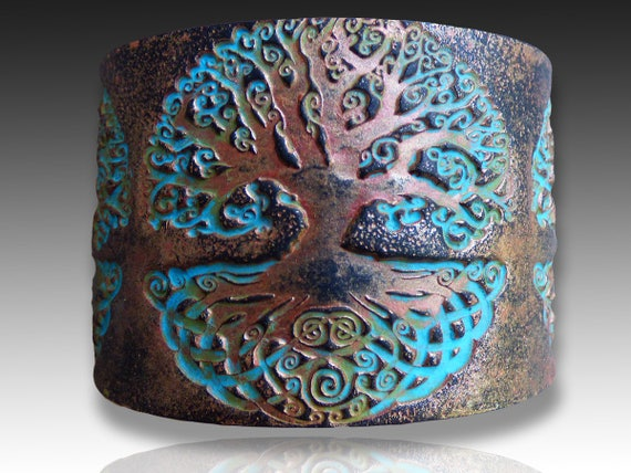 Celtic tree polymer clay cuff bracelet