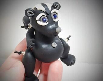 Polymer Clay Jiggly SKUNK Figurine