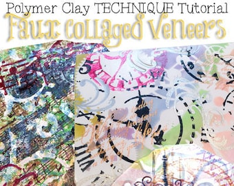 Polymer Clay Faux Collage Veneer Tutorial - Learn How to Make a Faux Collage on Polymer Clay