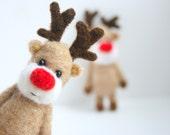 Felted miniature Christmas reindeer