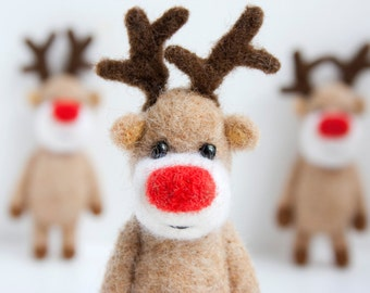Felted reindeer Christmas ornament