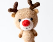 Christmas reindeer ornament, felted Christmas toy, deer holiday decoration