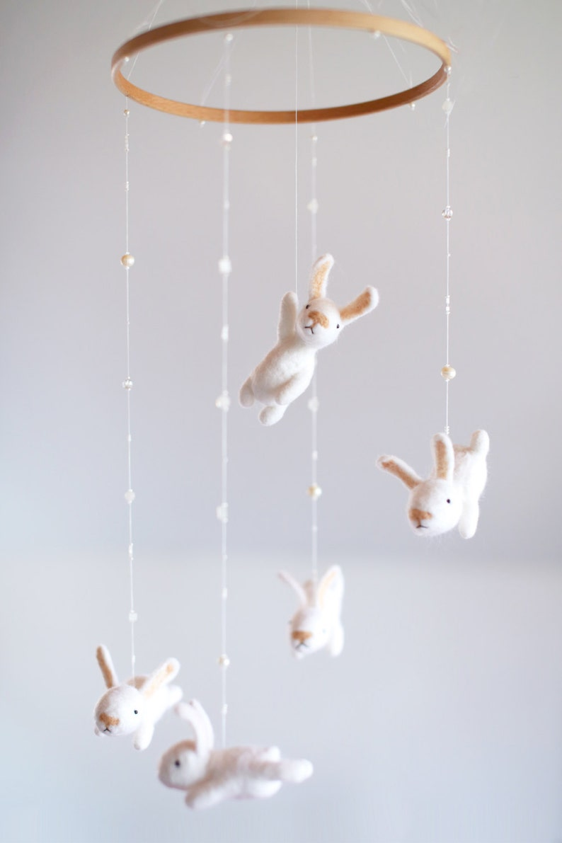 custom nursery mobile with an EXTRA white bunny  crib mobile image 0