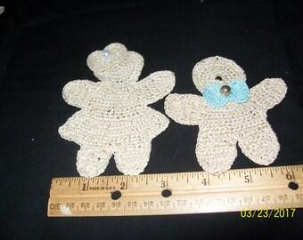 Set of 2 gingerbread shaped motifs