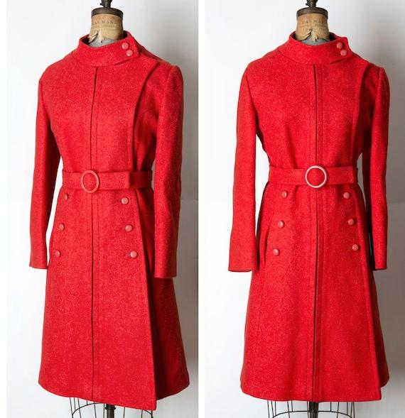 Vintage Lane Bryant Red Mod MILITARY Wool Coat L/X