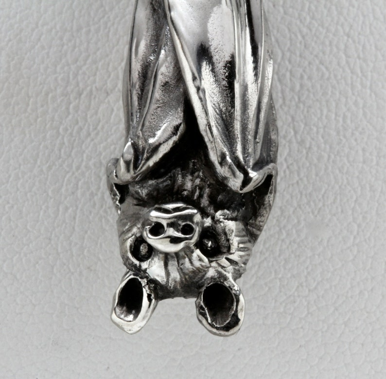 Blue Bayer Design made in NYC Hanging  Bat Necklace in Sterling Silver