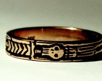 Georgian Skeleton Ring solid 14k rose gold Memento Mori Ring Blue Bayer Design NYC