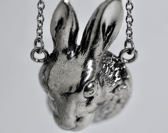 Rabbit Necklace Big Bunny Rabbit Jewelry in White Bronze or Sterling Silver Blue Bayer Design, Made in NYC
