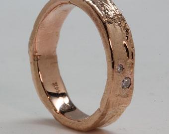 Tree Bark Ring  18k Rose Gold 2 Diamonds, made in NYC, Blue Bayer Design