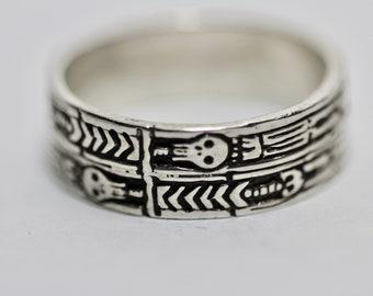 Wide Memento Mori Ring, Georgian Skeleton Ring, Memento Mori Jewelry, Mourning Ring, Sterling Silver, Blue Bayer Design NYC