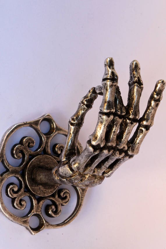 Silver Plated Skeleton Hand Wall Hook Coat Rack Curtain Rod Etsy New Coat Rack Nyc