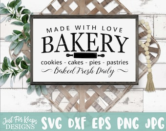 SVG Made with Love Bakery sweets JPEG PNG