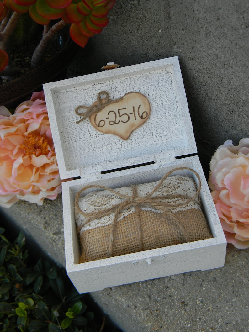 Personalized Wedding Ring Box Unique Ring Bearer Box Rustic Ring Bearer Box white ring box Mini Ring Bearer Pillow Wood Ring Bearer Box