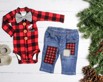 430481b2c8ec Baby Boy Christmas Outfit, Personalized Buffalo Plaid Cardigan and Jeans. Newborn  Boy. Baby Lumberjack. 1st First Christmas. Moose. Name.