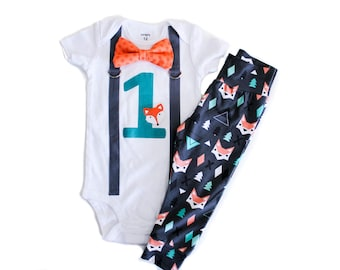 Fox Birthday Shirt Boy, Woodland Birthday, Fox Cake Smash, 1st Birthday Outfit Baby Boy, Boys 1st Birthday Shirt Leggings Shorts