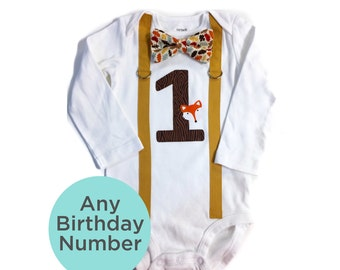 Woodland 1st Birthday Outfit Boy. Fox Cake Smash Outfit. Boy's 1st Birthday Shirt with Fox Theme. Orange Brown Woodland. Birthday Boy