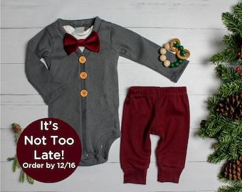 64cd8735b Baby Boy Christmas Outfit. Dark Gray & Burgundy, Vintage Inspired Cardigan  Set with Pants. Bow tie. 1st Christmas. Newborn. Velvet Classic