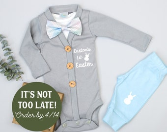 9fd28039e Personalized Baby Boy Easter Outfit. Gray Cardigan with Plaid Bow Tie.  Bunny Knee Pants. 1st Easter Outfit. Bowtie. Newborn infant boy.