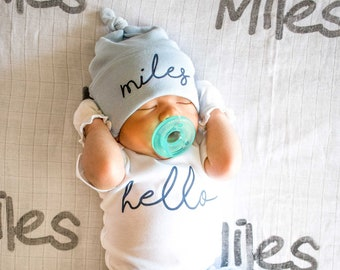 8f19b2fda Baby Boy Coming Home Outfit. Spring Summer. Newborn Hello Bodysuit. Blue  Custom Personalized Knot Hat Beanie. Take Home Outfit