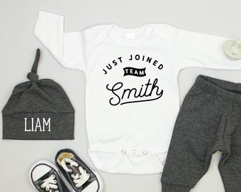 Black Monogrammed Baby Boy Clothes Newborn Boy Going Home Outfit Cardigan Personalized Coming Home Outfit Preppy. Monochrome Name Hat