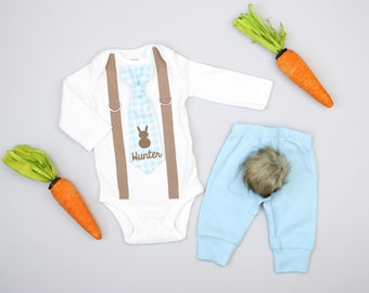 b83eb7d03 Personalized Easter outfit for baby boy. Baby Blue. Newborn boy, infant boy.  Custom Name tie and suspenders bodysuit.