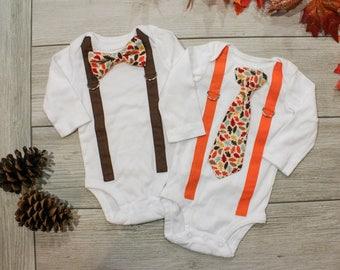Baby Boy Thanksgiving Outfit. Fall Clothing. Toddler Thanksgiving Outfit. Newborn baby boy clothes. Leave orange brown