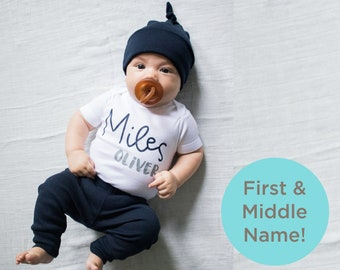 6dcea3f4eb1 Custom Name Baby Boy Coming Home Outfit. Personalized First Middle Name.  Navy and Gray Grey. Baby. Newborn. Farmhouse