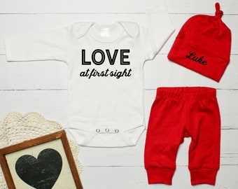 My First Valentine S Day Outfit Baby Boy First Valentines Etsy