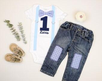 2db04b82c7084 Bébé garçon 1er anniversaire tenue bleu jeans. Gâteau Smash tenue. Premier  anniversaire chemise pour les garçons. Personnalisé nom personnalisé.
