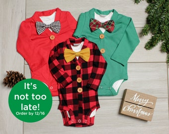 4e3a5f728d0f Baby Boy Christmas Outfit. Buffalo Plaid Baby Outfit. Red Cardigan. Green  Cardigan. Bowtie. Newborn Boy.