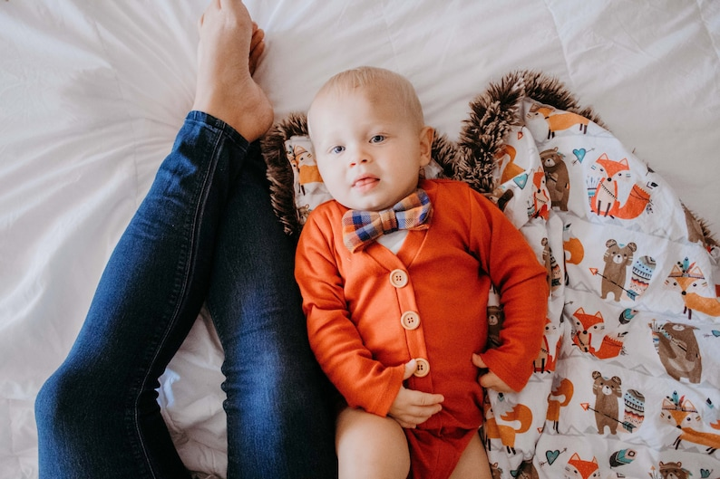 f818c26d0 Baby Boy Thanksgiving Outfit. Newborn Coming Home Outfit. Burnt Orange Baby  Cardigan. Fall Infant Boy Clothes. 1st Birthday Outfit.