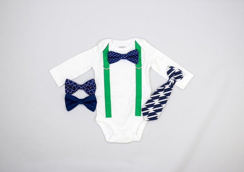 c1386c8ab471 KELLY GREEN Suspenders / NAVY tie. Baby Boy Dress Clothes. | Etsy