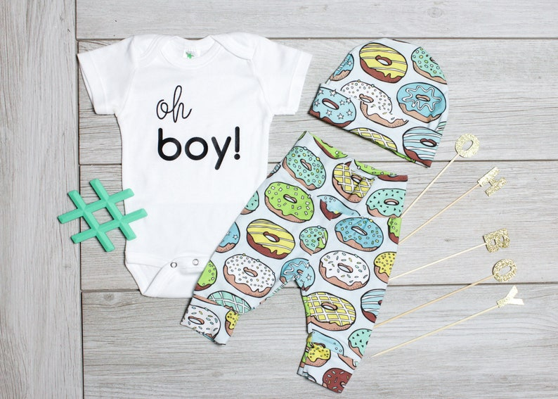 008ded140113 Donut Gender Reveal Doughnut Coming Home Outfit Boy. Newborn