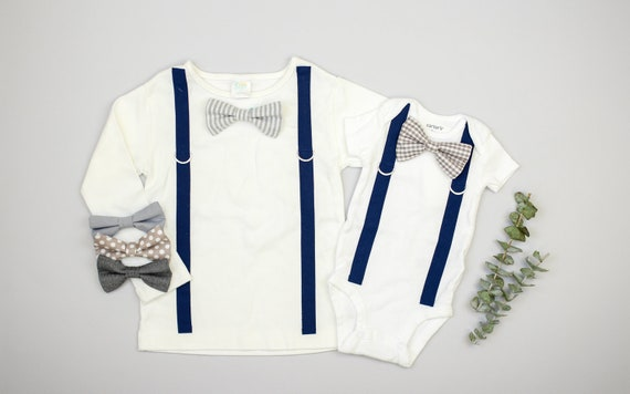 4bd5cc95ca763 NAVY & GRAY Baby Boy Tie and Suspenders Outfit. Snap on Bow tie bodysuit or  shirt. toddler baby boys clothing