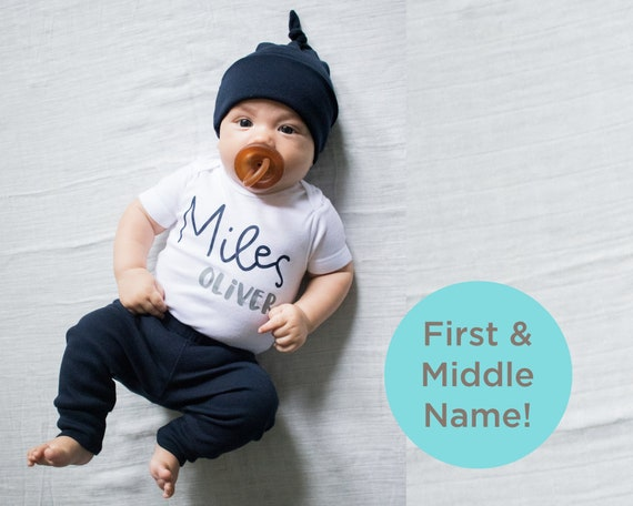 Personalized Baby Clothing Customized Baby Hat Baby Outfit With Custom Name added Baby Bib Baby Bodysuit Full Baby Outfit