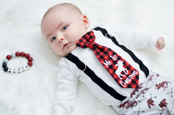 Baby Boy 1st Christmas Outfit In Buffalo Plaid Christmas Etsy
