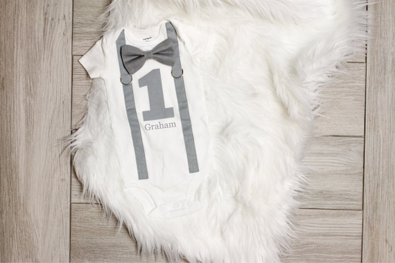 Gray Baby Boy 1st Birthday Outfit In Grey Cake Smash First Shirt For Boys Personalized Name Custom Bow Tie Suspender
