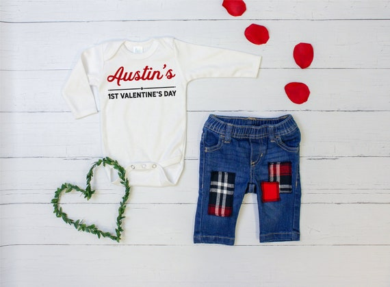 e02d92f49 Personalized Baby Boy 1st Valentine's Day Outfit. Valentine Graphic Tee  Bodysuit and Plaid Patched Jeans. Name Red Navy. Custom