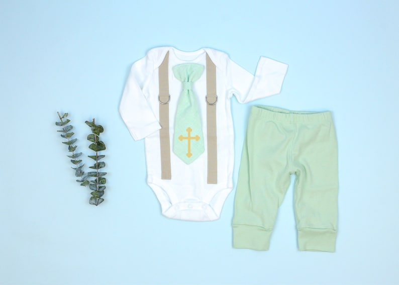 a95774065 Mint & Gold Baptism Outfit for Boys. Baby Boy Baptism Set with | Etsy