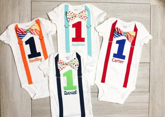 ed3b2f1a8706 Personalized Rainbow Birthday Outfit. Baby Boy Cake Smash | Etsy