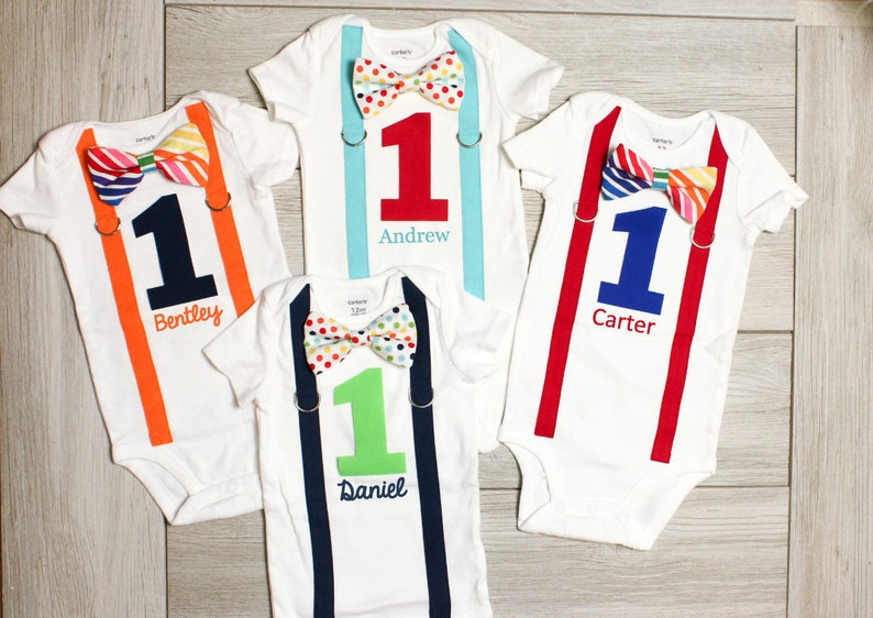 4420dd477 Personalized Rainbow Birthday Outfit. Baby Boy Cake Smash | Etsy