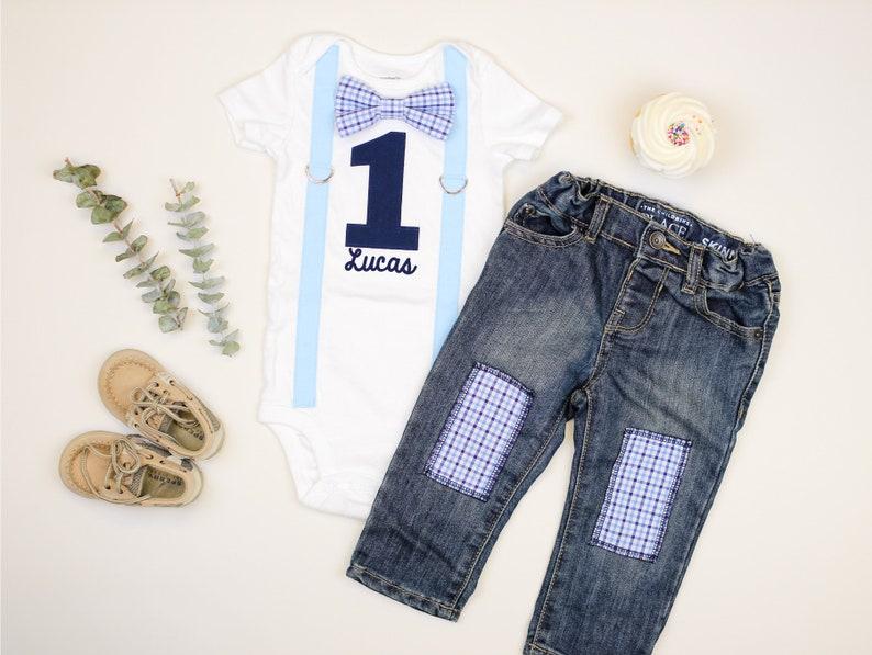 The Birthday Boy Clothes Baby Boy Short Sleeve Letter Print Shirt Denim Short Pants Cake Smash Outfit Set