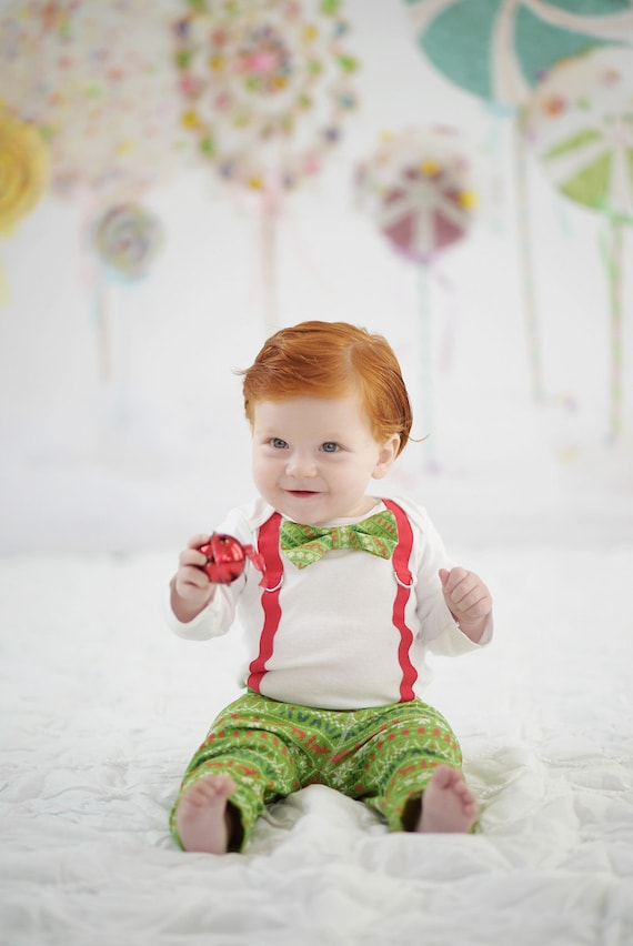 Baby Boy Christmas Outfit Ugly Christmas Sweater Print Bowtie And