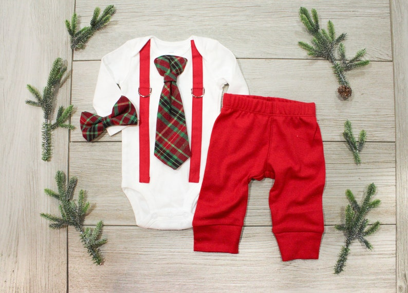 Christmas Outfits.Baby Boy 1st Christmas Outfit Baby Boy Tie And Suspenders Infant Bowtie Newborn Christmas Outfit Coordinating Sibling Christmas Outfits